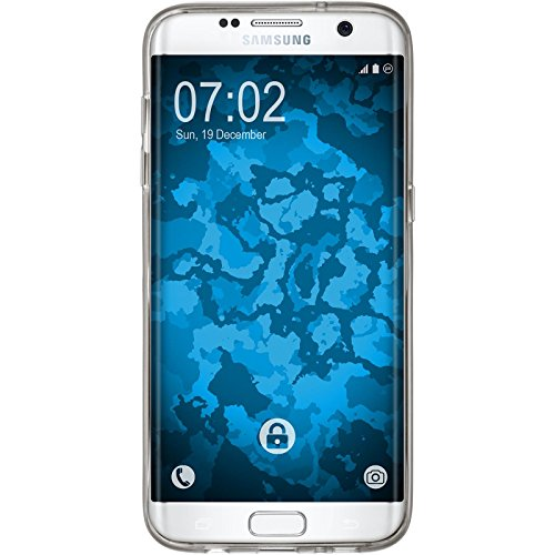 PhoneNatic Case für Samsung Galaxy S7 Edge Hülle Silikon hellblau Iced Cover Galaxy S7 Edge Tasche Case Grau