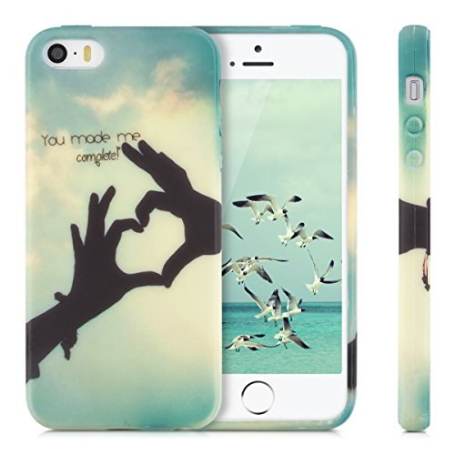 kwmobile Hülle für Apple iPhone SE / 5 / 5S - TPU Silikon Backcover Case Handy Schutzhülle - Cover Don't touch my Phone Design Weiß Schwarz You made me complete Schwarz Hellblau Blau