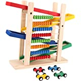 Slippery Car Toy - Baby Montessori Educational Wooden Creative Colorful Abacus With 4 Cars Teaching Learning Abacus Slippery Car Math Toy By Shuban