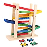 #10: Abacus Slippery Car Toy - Wooden 4 Level Toy Car Ramp Race Track Includes 4 Wooden Toy Cars - My First Baby Toys - Race Car Ramp Toy Set is A Great Gift for Boys and Girls by KARP