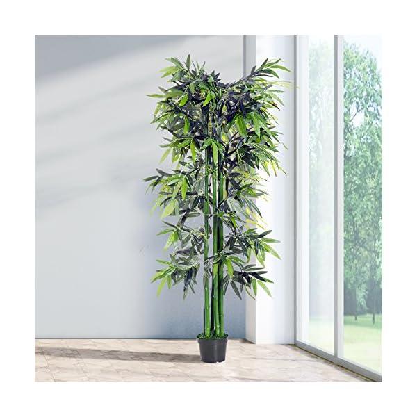 Outsunny Bambú Artificial 180cm con Cañas Naturales Árbol Planta Sintética Decorativa con Maceta Casa Jardín Decoración…