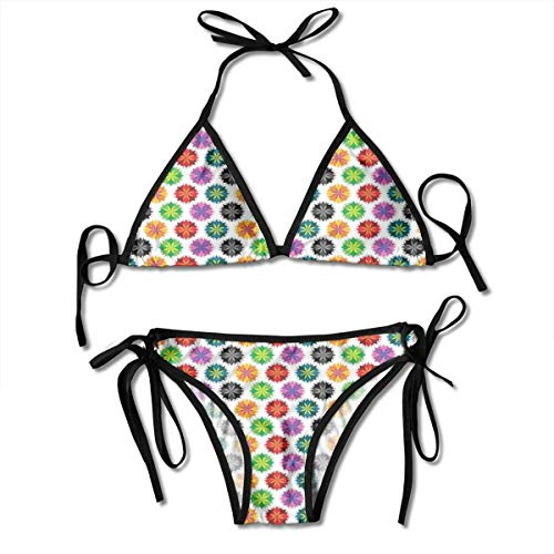 MIOMIOK Adjustable Bikini Set Halter Ladies Swimming Costume, Vibrant Colored Abstract Floral Figures with Sharp Edges Summer Nature Inspired,Halter Beach Bathing Swimwear Floral Ruffle Edge