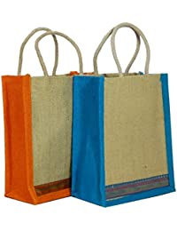 Bubby Set Of 2 Trendy Jute Lunch Bag Gift Bag