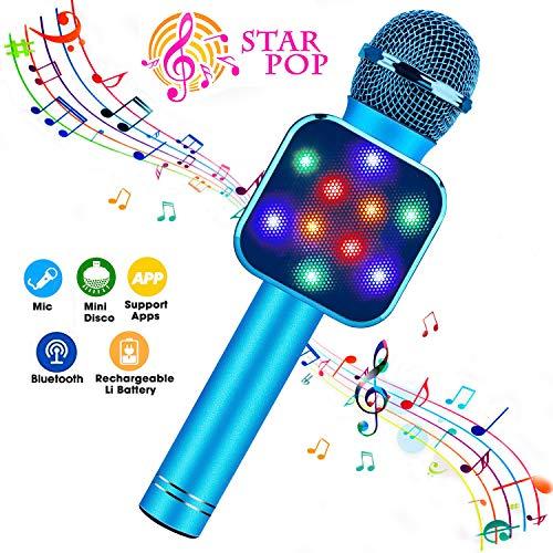 ShinePick Microfono Karaoke Bluetooth, 4 en1 Microfono Karaoke Portatil con Baile de Luces LED para...