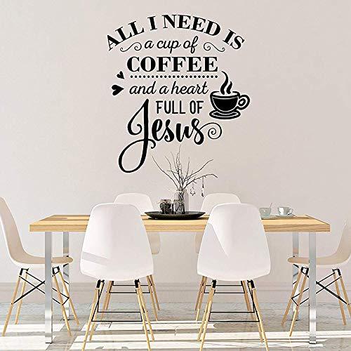 WSLIUXU Kaffee Und Jesus Küche Wandaufkleber Café Liebhaber Restaurant Dekoration Aufkleber Abnehmbare Vinyl Fenster Wandtattoo Hausgarten Wandaufkleber Schwarz 64x57 cm