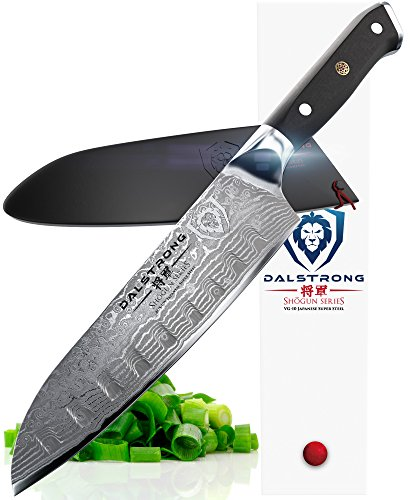 "DALSTRONG Santoku Knife - Shogun Series - AUS-10V Japanese Super Steel 67 Layers - Vacuum Treated- 7"" (180mm)- Guard Included"