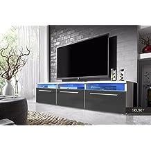 Lavello - Mueble TV / Mesa para TV (150 cm, Blanco Mate / Gris Brillo con Iluminación LED Azul)