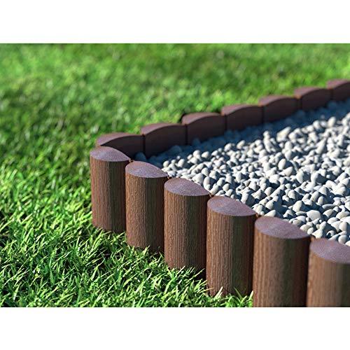 Cellfast ECO Rasenkante Palisade, braun, 8 Stück: 2,4 x 0,3 m Gartenpalisade Raseneinfassung Beetumrandung