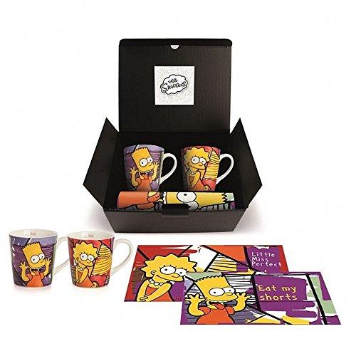 The Simpsons Brat/Lisa Set Mug Bart/Lisa et de Petit déjeuner, Porcelaine, Multicolore, 4 unités