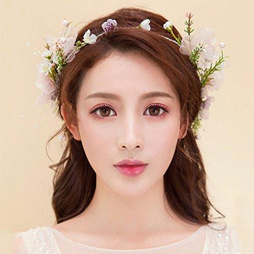 Braut Reines handgemachtes Haar verziert Hochzeits-Kleid-Haar-Zusätze Langer Diamant-Perlen-Kopf-Platten-Blumen-Ring mit Schmuck
