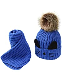 ODJOY-FAN-bambino Gattino Più velluto Cappello lavorato a maglia + sciarpa  Abito due pezzi-Bambino carino inverno… 35eb98b235b6