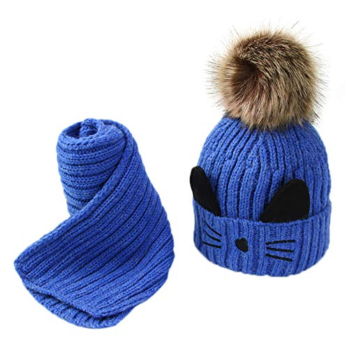 6d9e61db792 Malloom 2 Unids Toddler Baby Girls Boys Winter Warm Knitted Cat Hair Ball  Cap + Bufanda