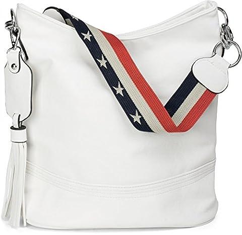 styleBREAKER Bucket Bag Schultertasche mit Statementgurt im USA Stars &