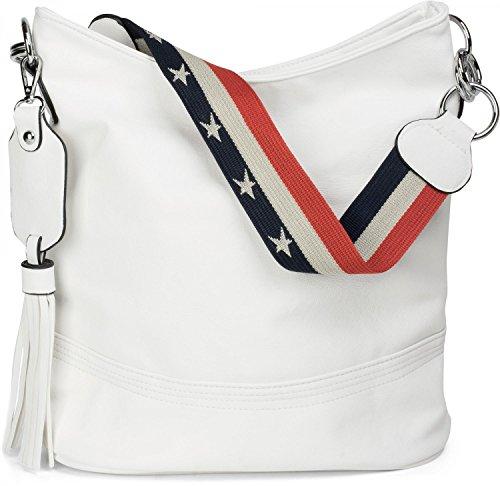 styleBREAKER Bucket Bag Schultertasche mit Statementgurt im USA Stars & Stripes Design, Handtasche, Tasche, Damen 02012135, Farbe:Weiß (Hobo Geprägte Bag)