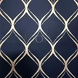 Clifton WW41964 Papier peint géométrique Motif vague Bleu marine/doré