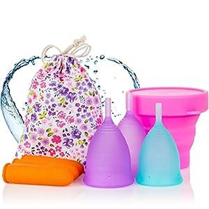 Melyth Menstruationstassen – (2x Groß & 1x Klein) – Kostenlose Faltbar Tragbare Reinigungsbecher – Finde deine Perfekte Passform Beste Alternative zu Tampons und Stoffbinden