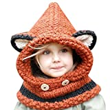 Belsen kinder Winter Baby Ohren tragen strickmütze Nett Cap Umhang Lätzchen Schal (Orange)
