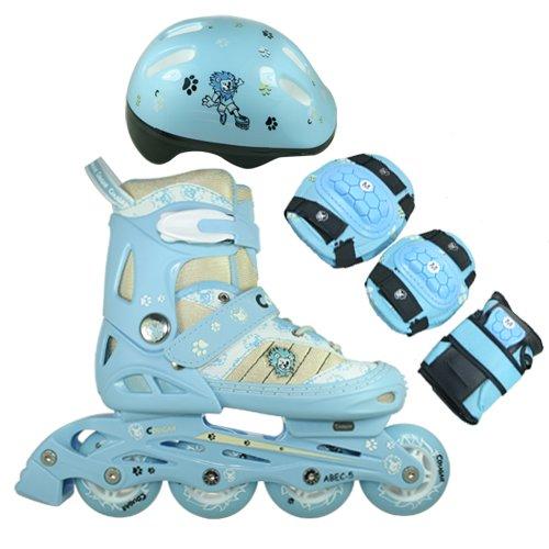 FA Sports Inline Skates-Set für Kinder mit Bremse, Blau, Weiß, Creme, Schwarz, Small