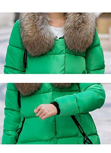 Meridiaga Winter Damen mit Kunstpelzkapuze Asymmetrisch Daunenmantel Steppjacke Wintermantel verdickte Winterjacke Grün