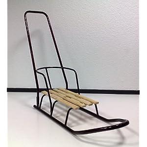 Schlitten Metall Holzschlitten mit Rückenlehne und Lenk Stange NEU