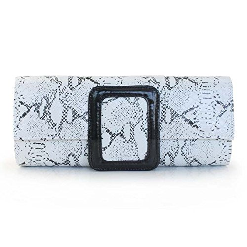 Signore Borsa A Tracolla Modello Del Serpente Signore Brillanti Evening Bag Cosmetics Bag White