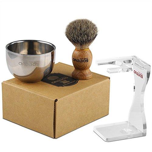 Rasierset Luxus Herren Geschenk Set Rasierpinsel reines Dachshaar silberspitz shaving brush badger Ständer Rasierseife Rasierschale