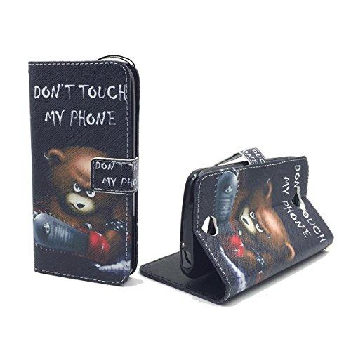 König-Shop Handy-Hülle für Acer Liquid Z530 Klapp-Hülle aus Kunst-Leder | Inklusive Panzer Schutz Glas 9H | Sturzsichere Flip-Case in Schwarz | Im Don't Touch My Phone Teddybär Motiv