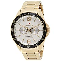 TH WATCH MEN'S SILVER & WHITE DIAL IONIC THIN GOLD PLATED 2 STEEL WATCH - 1791365