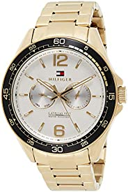 TH WATCH MEN'S SILVER & WHITE DIAL IONIC THIN GOLD PLATED 2 STEEL WATCH -