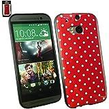 Emartbuy® HTC One M8 2014 Polka Dots Gel Skin Tasche Case Hülle Rot / Weiß