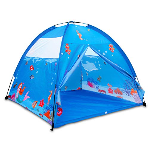 ALPIKA Play Tent Kids Mermaid Toys Children Indoor Outdoor Playhouse for Kids Happy Play (Blue)