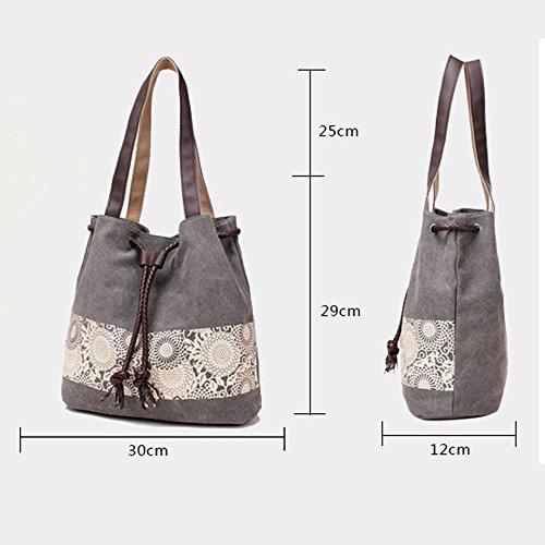BYD - Donna Female Canvas secchiello Bag Borse a spalla School Bag with PU Leather Strap with Printed Flower Design Grigio