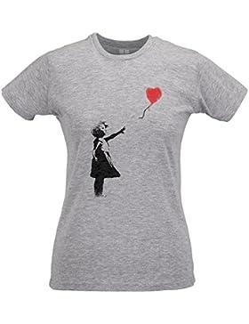 LaMAGLIERIA Camiseta Mujer Slim Banksy Balloon Girl - T-Shirt Street Art Design Graffiti 100% Algodòn Ring Spun
