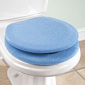 Thicken Washable Waterproof Coral Velvet Plush Autumn Winter Soft Toilet Mat Seat Cushion Cover Pads with Zipper Bathroom Toilet Lid Cover Set 2PCS Blue Upstore 1Set