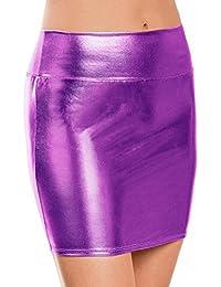 Falda De Cuero Paquete Cadera Mujer LHWY, Faldas Mini Color SóLido Eroticos Club Faldas De