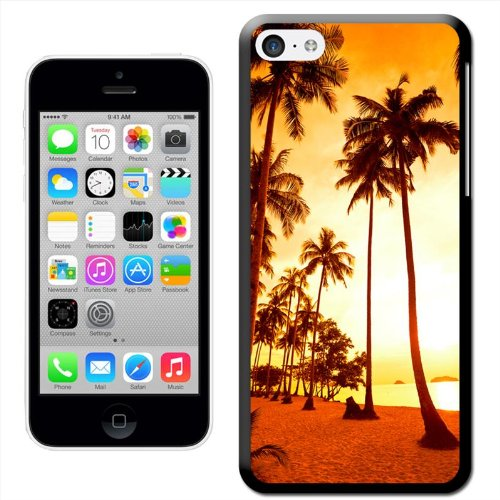 Fancy A Snuggle 'Sonne Set in Sea mit Wasser Bungalows' Hard Case Clip On Back Cover für Apple iPhone 5 C Palms On Desert Island Beach