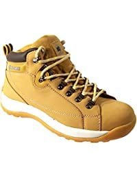 MENS SAFETY TRAINERS SHOES BOOTS WORK STEEL TOE CAP HIKER ANKLE HONEY