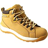MENS SAFETY TRAINERS SHOES BOOTS WORK STEEL TOE CAP HIKER ANKLE HONEY (9 UK)