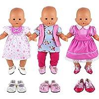 Miunana 6X = 3X Vestidos Verano Casual Ropas Fashion + 3X Zapatos para 14 - 16 Pulgada Muñeca bebé 36 - 40 cm Doll