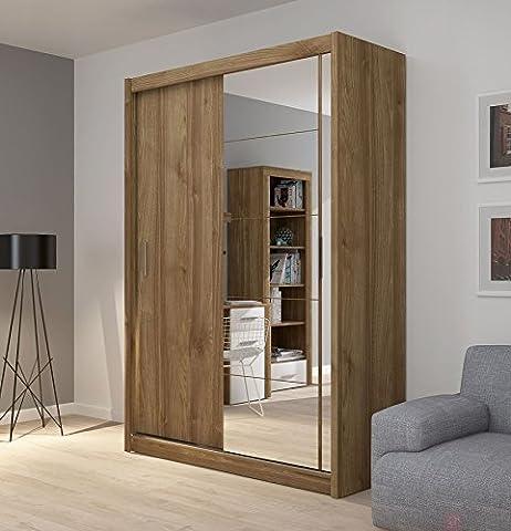 Fado Miroir Armoire à 2portes Armoire à portes coulissantes Miroir étagères à suspendre Vêtements Rail meubles de chambre à coucher couloir