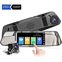 【2018 New Version】CHORTAU Mirror Dash Cam 4.8 Inches Touch Screen Full HD 1080P, Wide Angle Front Camera and Waterproof Rear Camera, Car camera with Emergency Recording, Parking Monitor, Reverse Monitor System, Motion Detection