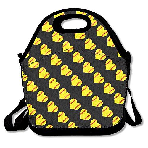 Softball heart love lunch bag tote borsetta portapranzo per scuola lavoro all' aperto
