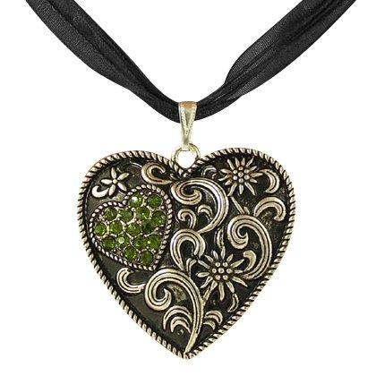 Trachtenschmuck Dirndl Kette Kristall Herz – geschwärzt – Edelweiss – Olivine grün...