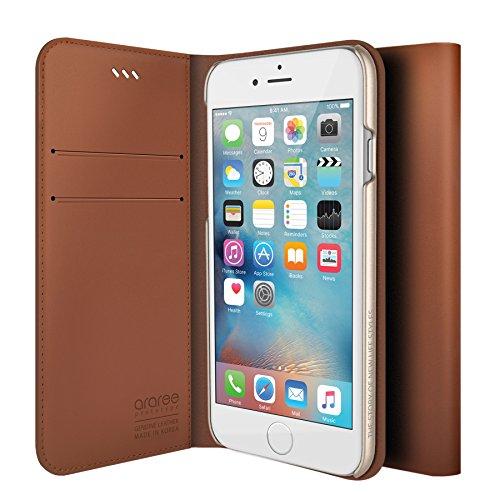 iPhone 6S Schutzhülle, araree® [das Original] Premium Echtleder Wallet Case Flip Cover Mit Kreditkarte ID Halter für Apple (2015) SADDLE BROWN