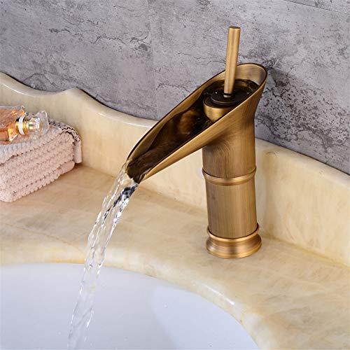 YIYIBY Retro Vintage Einhebel Wasserhahn Waschbecken Mischbatterie Küche bad Armatur,Vintage Badezimmer Wasserfall Mischbatterien Waschraumarmaturen