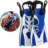 Khroom® Kurzflossen verstellbar mit Flossentasche zum umhängen und weichem...
