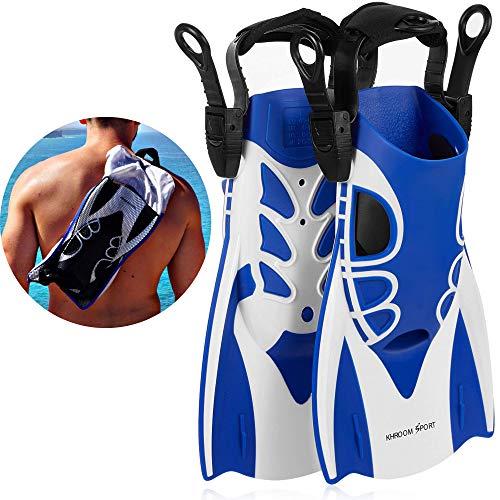 Khroom® Kurzflossen verstellbar mit Flossentasche zum umhängen und weichem Fersen-Pad (Blau, 34-39)