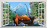 Chicbanners Grizzy und die Lemminge Fenster 3D V002Selbstklebend Magic Wandtattoo Fenster Poster Wall Art Größe 1000mm Breit x 600mm Tief (groß)