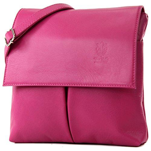 modamoda de - ital. Ledertasche Schultertasche Crossover Umhängetasche Nappaleder T63, Präzise Farbe:Pink