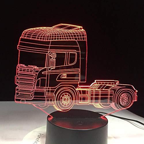 Nachtlicht 3D neben Tischlampe Illusion LKW-Container 7 Farben ändern Berühren Sie Schalter Schreibtisch Dekoration Lampen Geburtstag Weihnachtsgeschenk mit Acryl Flat & ABS Base & USB Kabel (John Deere Container)